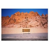 Bench in front of rocks, Red Rock Canyon State Par