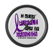 I Wear Purple 37 Epilepsy Large Wall Clock
