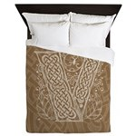 Celtic Letter V Queen Duvet Cover