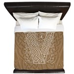 Celtic Letter V King Duvet Cover