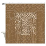Celtic Letter T Shower Curtain