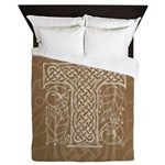 Celtic Letter T Queen Duvet Cover