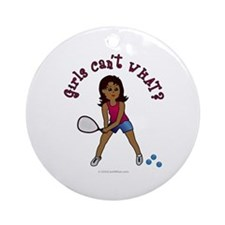 Racquetball Girl (Dark) Ornament (Round)