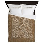 Celtic Letter R Queen Duvet Cover