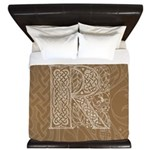 Celtic Letter R King Duvet Cover