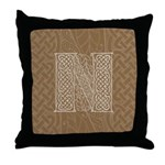 Celtic Letter N Throw Pillow