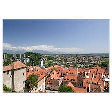 High angle view of a town, Skofja Loka, Gorenjska,