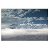 Cloudy sky over snowcapped mountains, Wrangell Mou