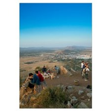 High angle view of tourists on top of a hill, Push