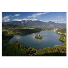 High angle view of a lake, Lake Bled, Julian Alps,