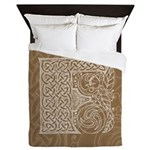 Celtic Letter F Queen Duvet Cover