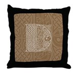 Celtic Letter D Throw Pillow