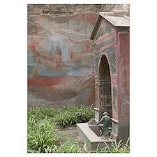 Graffiti on the wall near a fountain, Casa della F