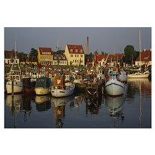 Boats docked at the marina, Kierkgaard, Sjaelland,