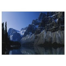 Lake in a valley, Bow Lake, Crowfoot Glacier, Albe
