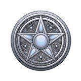"Silver Moonstone Pentacle 3.5"" Button (100 pack)"
