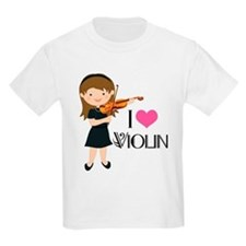 I Heart Violin Girls Kids Light T-Shirt