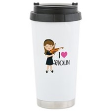 I Heart Violin Girls Stainless Steel Travel Mug