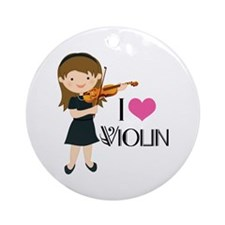 I Heart Violin Girls Ornament (Round)