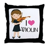 I Heart Violin Girls Throw Pillow