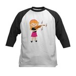 Violin Music Girl Kids Baseball Jersey