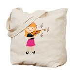 Violin Music Girl Tote Bag