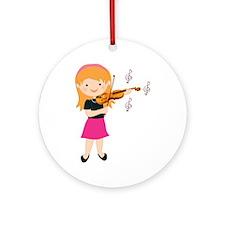 Violin Music Girl Ornament (Round)