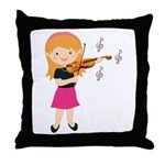 Violin Music Girl Throw Pillow