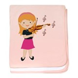 Violin Music Girl baby blanket