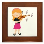 Violin Music Girl Framed Tile