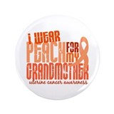 "I Wear Peach 6.4 Uterine Cancer 3.5"" Button (100 p"