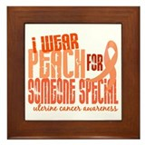I Wear Peach 6.4 Uterine Cancer Framed Tile
