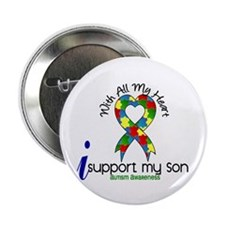 """With All My Heart Autism 2.25"""" Button"""