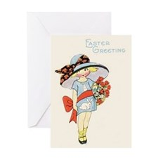 Vintage Girl with Easter Bonnet Greeting Card