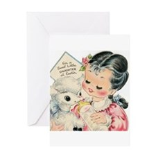 Vintage Easter Lamb and Girl Greeting Card