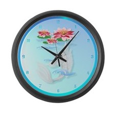 Silver Koi-Pink and Pink Lili Large Wall Clock