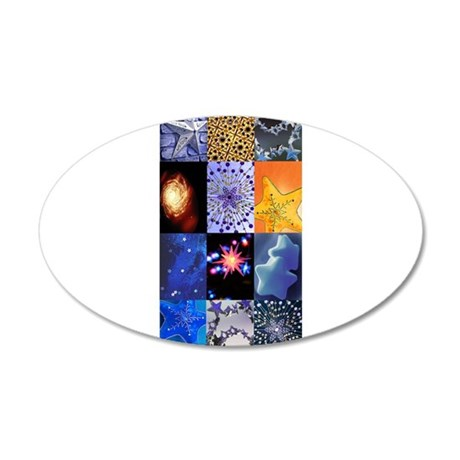 Blue and Gold Stars photo col 22x14 Oval Wall Peel