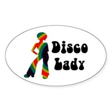 Disco Lady Retro Oval Decal