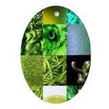 Green Photography Collage Ornament (Oval)