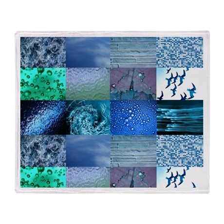 Blue Photography Collage Throw Blanket