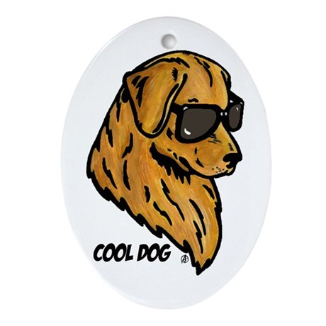 Cool Dog Oval Ornament