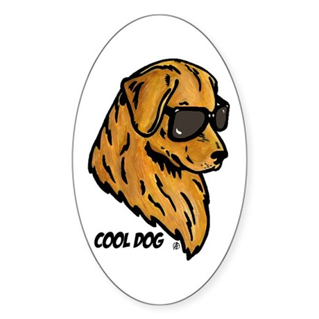 Cool Dog Oval Sticker