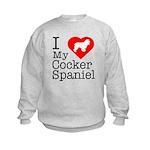 I Love My Cocker Spaniel Kids Sweatshirt