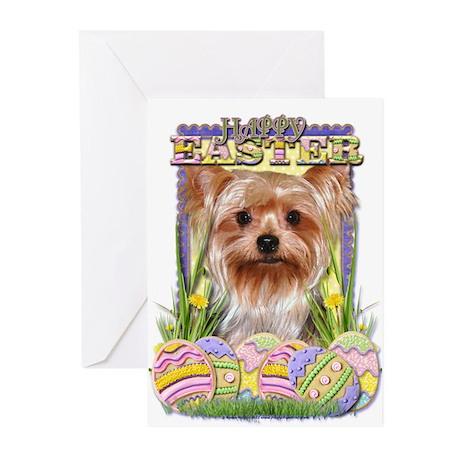 Easter Egg Cookies - Yorkie Greeting Cards (Pk of