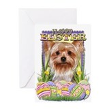 Easter Egg Cookies - Yorkie Greeting Card