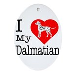 I Love My Dalmatian Ornament (Oval)
