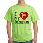 I Love My Dalmatian Green T-Shirt