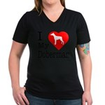 I Love My Doberman Pinscher Women's V-Neck Dark T-