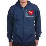 I Love My Doberman Pinscher Zip Hoodie (dark)