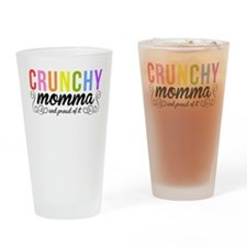 CRUNCHY MOMMA white Drinking Glass
